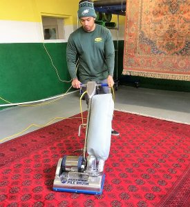 12-Step Rug Spa Deep Cleaning  Inspection – Every rug, is thoroughly inspected. Dusting –Using compressed air and the Wolverine rug duster we blast out years of dust, your vacuum can't even begin to reach. Certified Pile Lifting – The deepest vacuum on the planet. Adds life to your rugs by removing dust your vacuum can't even begin to reach. Helps restore traffic lanes and open the nap. Washing – Most rugs are washed in our simulated river basin or low moister mechanized hand cleaning. We use counter-rotating scrubbers with just enough power to deep clean without compromising the rug's pile or structure. Rinsing – While rug cleaning in the basin purified fresh water enters in one end, and dirty water is pumped out the opposite end. As the rug is hanging purified water is drained from the top of the rug down. Wand rinsing and truck-mount vacuums start the drying process. Specialty Services - Deodorizing, moth treatment, fringe whiting & more. Drying – Freshly cleaned rugs are dried by air movers and commercial dehumidifiers. We drop the indoor humidity to desert levels and move warm clean air through the rugs. Detailing – While hanging transparent hand tools extract any remaining. Grooming - Brushing the pile, sides, fringe, and selvage of any loose fibers. Vacuum – Using 3 different vacuums we ensure rugs are clean as possible. Inspection - Your rugs are as clean as possible and don't leave our rug spa until they have a fluffy feel. Delivery - For customer pickups, we'll load your rugs in your car curbside. Rug delivery includes light furniture moving and relaying you clean rugs. For pet odor removal, we add enzymes and soak the rug overnight. Rollers, pile lifters, and scrubbers are used to agitate and flex the rug. Clean rugs are wrapped in brown art paper and supporting plastic wrap. Visit our rug cleaning spa 5 minutes from the King of Prussia, 422, and the Main Line, PA.